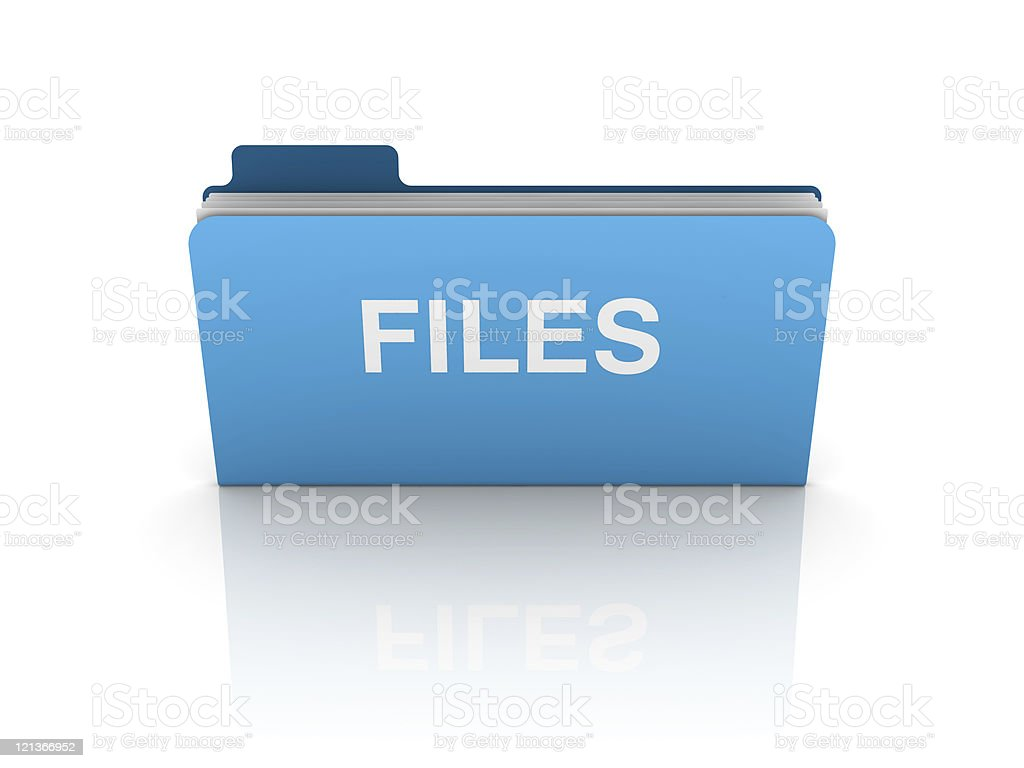 Blue 3D Folder with Files Word royalty-free stock photo