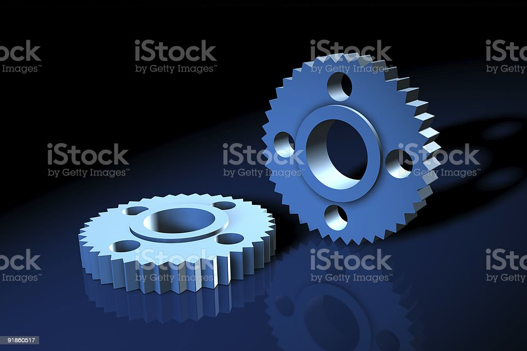 Blue 3d gears stock photo