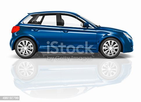 istock Blue 3D Hatchback Car Illustration 499192799