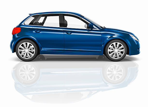 blue 3d hatchback car illustration - side view stock photos and pictures