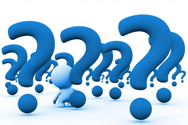 blue 3d person in a huge array of giant question marks (3d illustration on a white background) stock photo