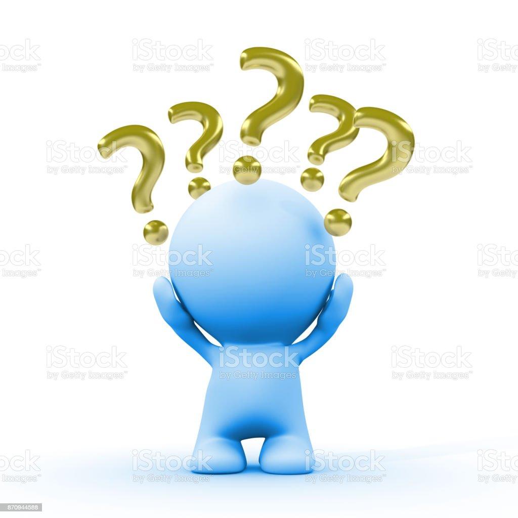 persona 3d azul con oro de interrogación alrededor de la cabeza (ilustración 3d sobre un fondo blanco) - foto de stock