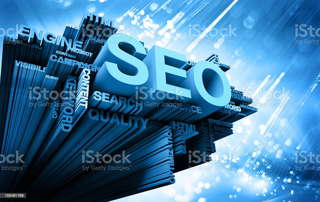 Blue 3D word art pertaining to search engine optimization royalty-free stock photo