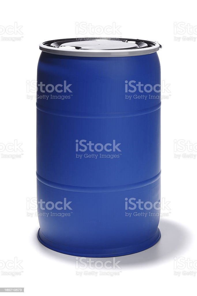 Blue 55 Gallon Barrel on White stock photo