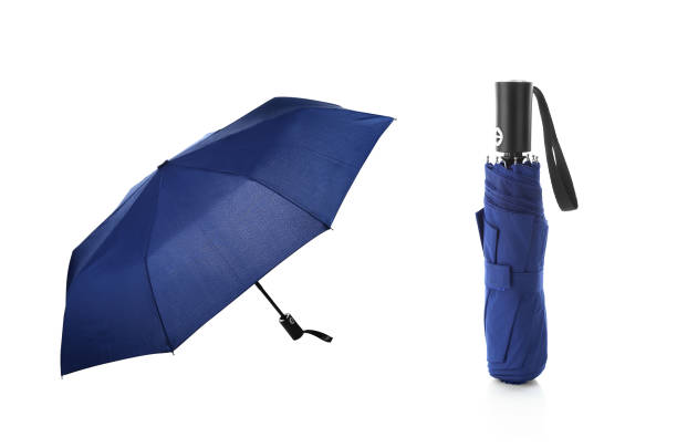 Blue 6 panels foldable lightweight umbrella Easy to carry and keep in bag. Use in rainy and sunny day foldable stock pictures, royalty-free photos & images