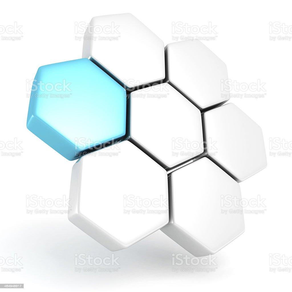 blue abstract 3d hexagons logo design business icon stock photo