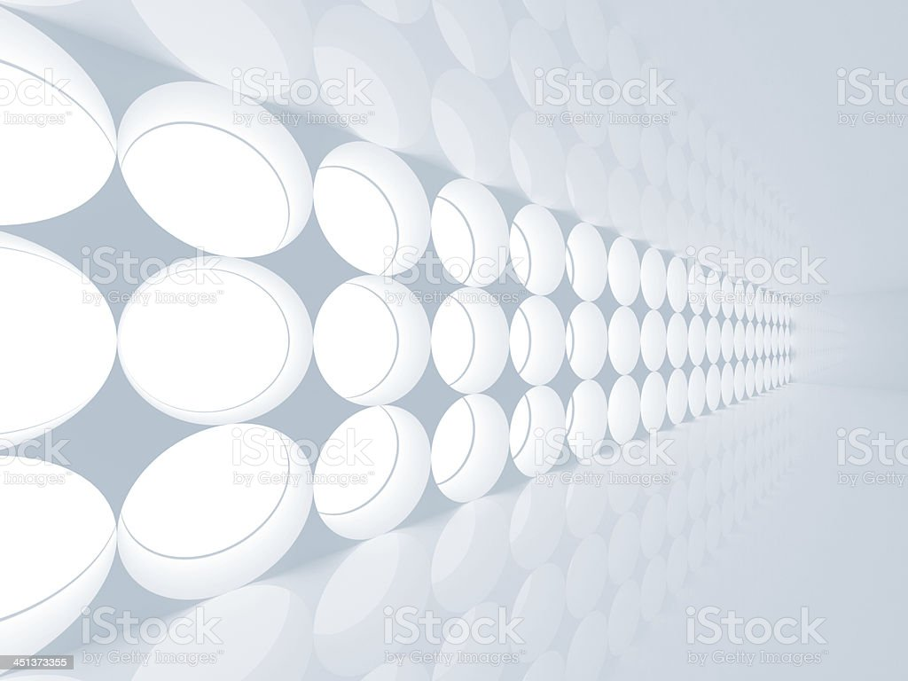 Blue abstract 3d interior with round decoration lights pattern o stock photo