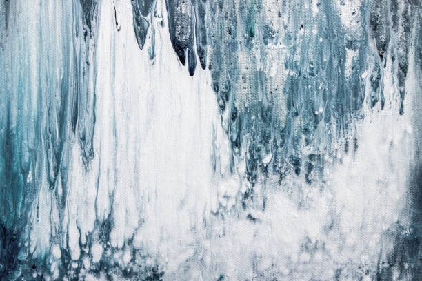 blaue abstrakte Acrylgemälde auf Leinwand – Foto