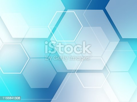 istock Blue abstract background hexagons pattern tech sci fi innovation concept 1155841308