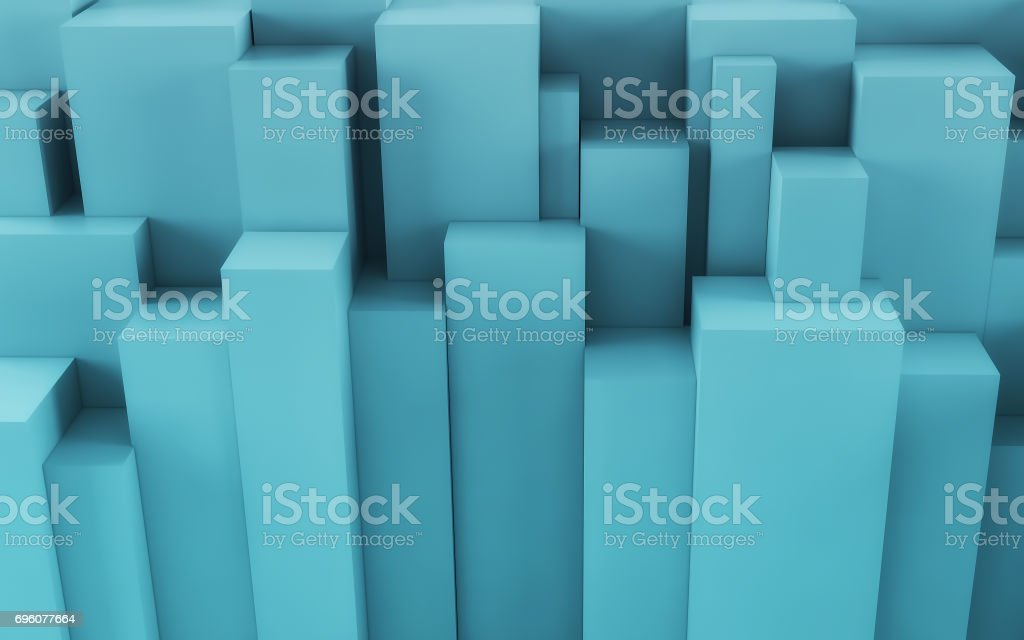 Blue Abstract geometric background from cubes. 3d render stock photo
