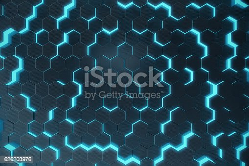 istock Blue abstract hexagonal glowing background, futuristic concept. 3d rendering 626203976
