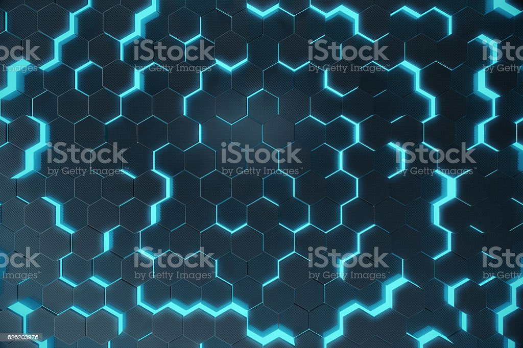 Blue abstract hexagonal glowing background, futuristic concept. 3d rendering vector art illustration