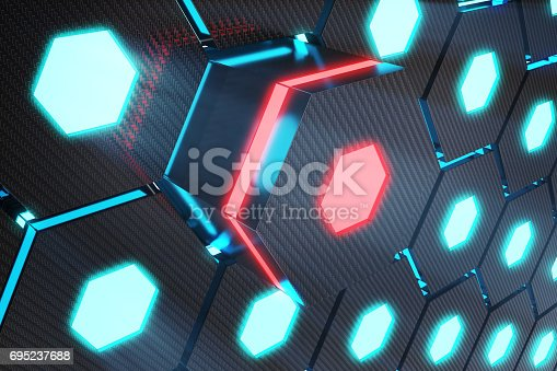 istock Blue abstract hexagonal glowing background, futuristic concept, 3D rendering 695237688