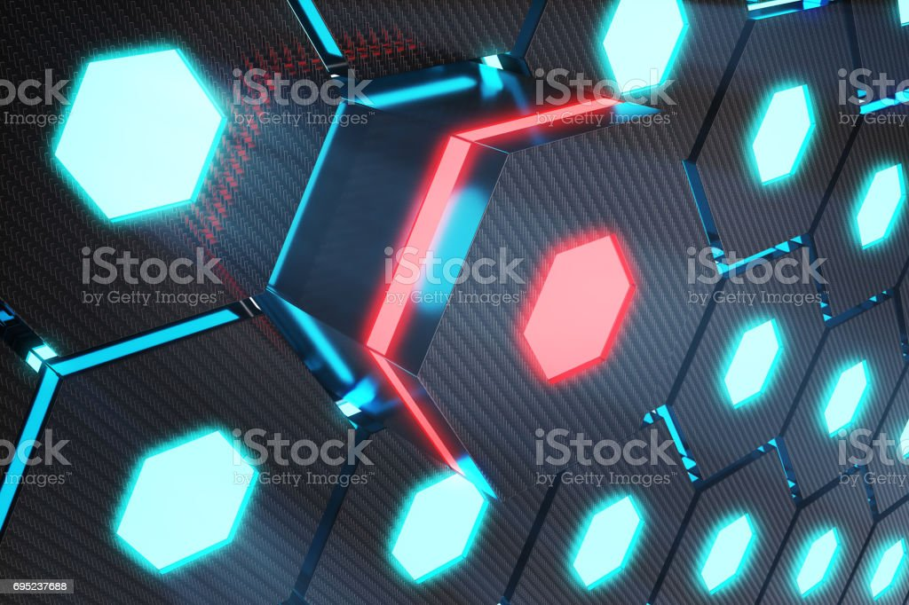 Bleu abstrait rougeoyante hexagonal, concept futuriste, rendu 3D - Photo