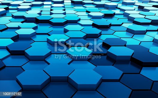istock Blue abstract hexagons background pattern 3D rendering - 3D Illustration 1003112152