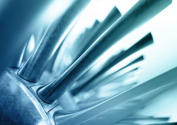 Fondo abstracto azul del industrial. Render 3D de las palas del rotor de turbina de gas. - foto de stock