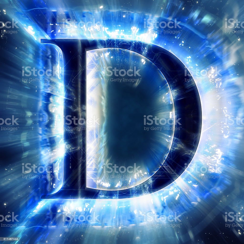 Blue Abstract Letter D stock photo