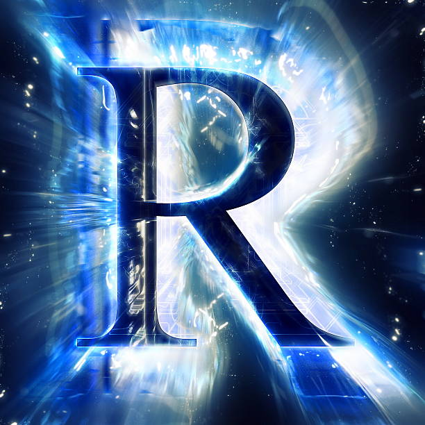Blue Abstract Letter R stock photo