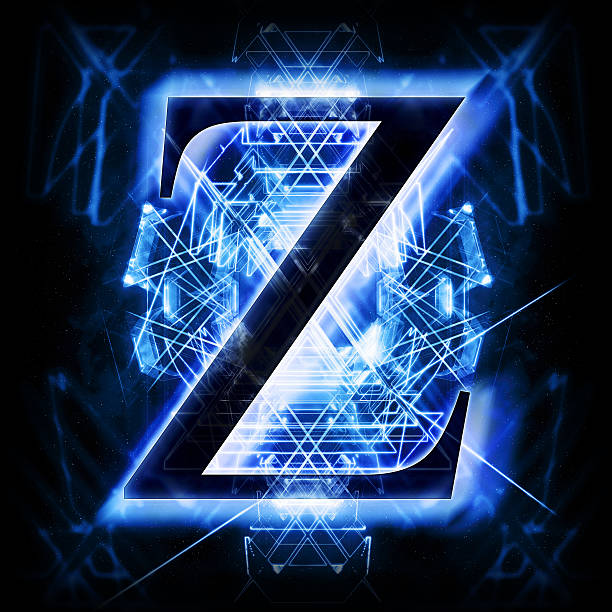 Blue Abstract Letter Z stock photo