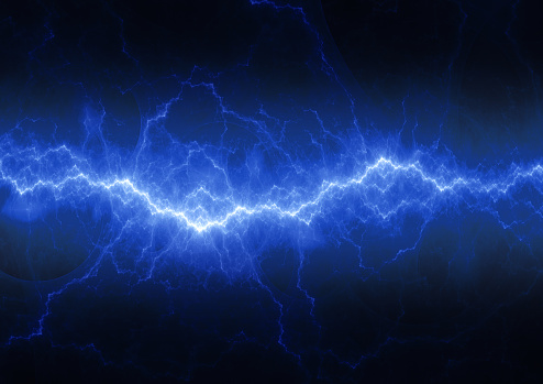 Blue abstract lightning, electric abstract
