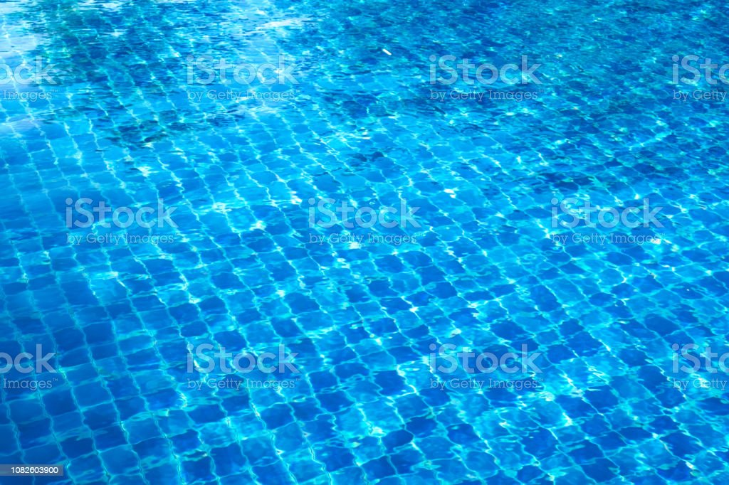 Blue Abstract Mosaic Tiles At The Bottom Of The Swimming Pool Background  Stock Photo - Download Image Now