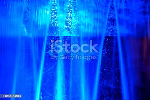 Blue abstract water background from a waterfall with long exposure time.