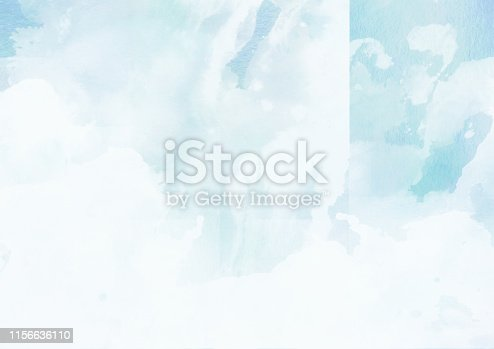 istock Blue abstract watercolor cloudscape painting 1156636110