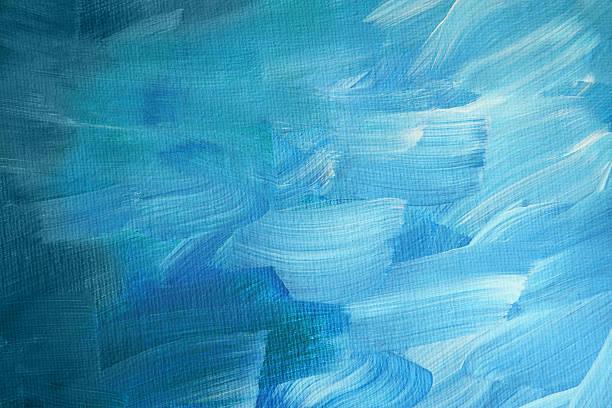 blue acrylic paint brush strokes on canvas - tuval üzerine akrilik stok fotoğraflar ve resimler