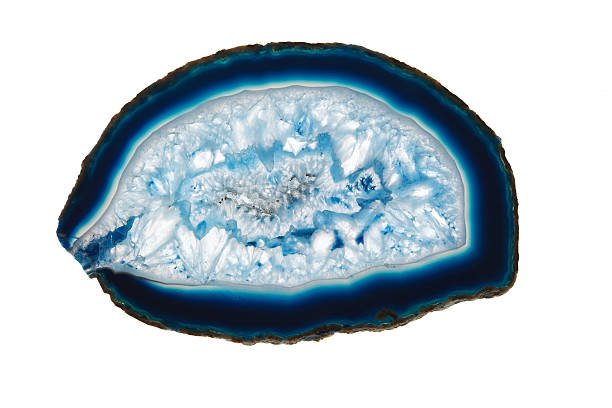 Blue agate slice mineral stock photo