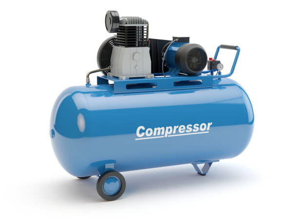 Blue Air Compressor, 3D illustration Machinery, white background compressor stock pictures, royalty-free photos & images