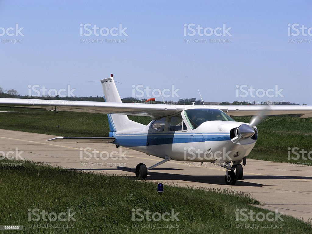 Blue aircraft royalty-free stock photo
