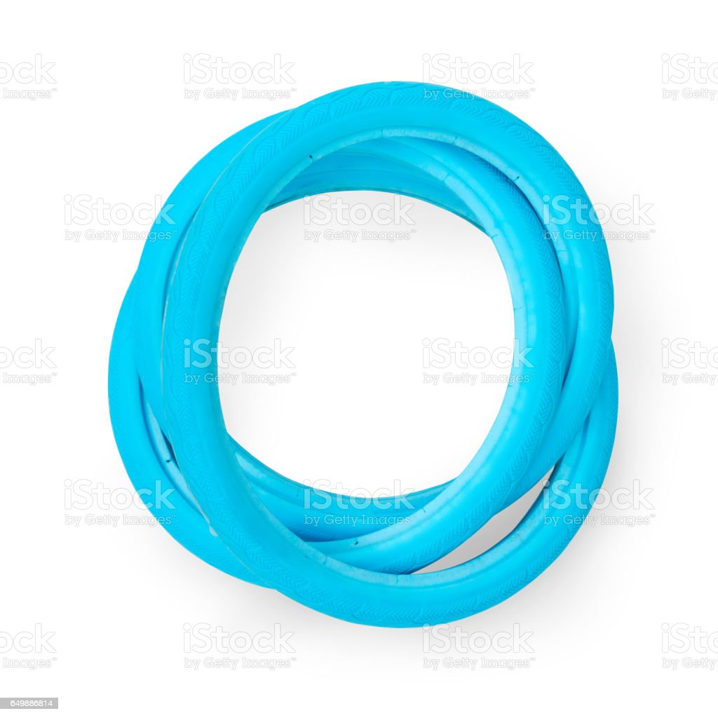 Blue airless solid bicycle tires stock photo