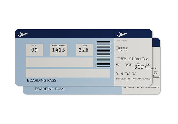 blue airline tickets - boarding pass - aeroplane ticket stock photos and pictures
