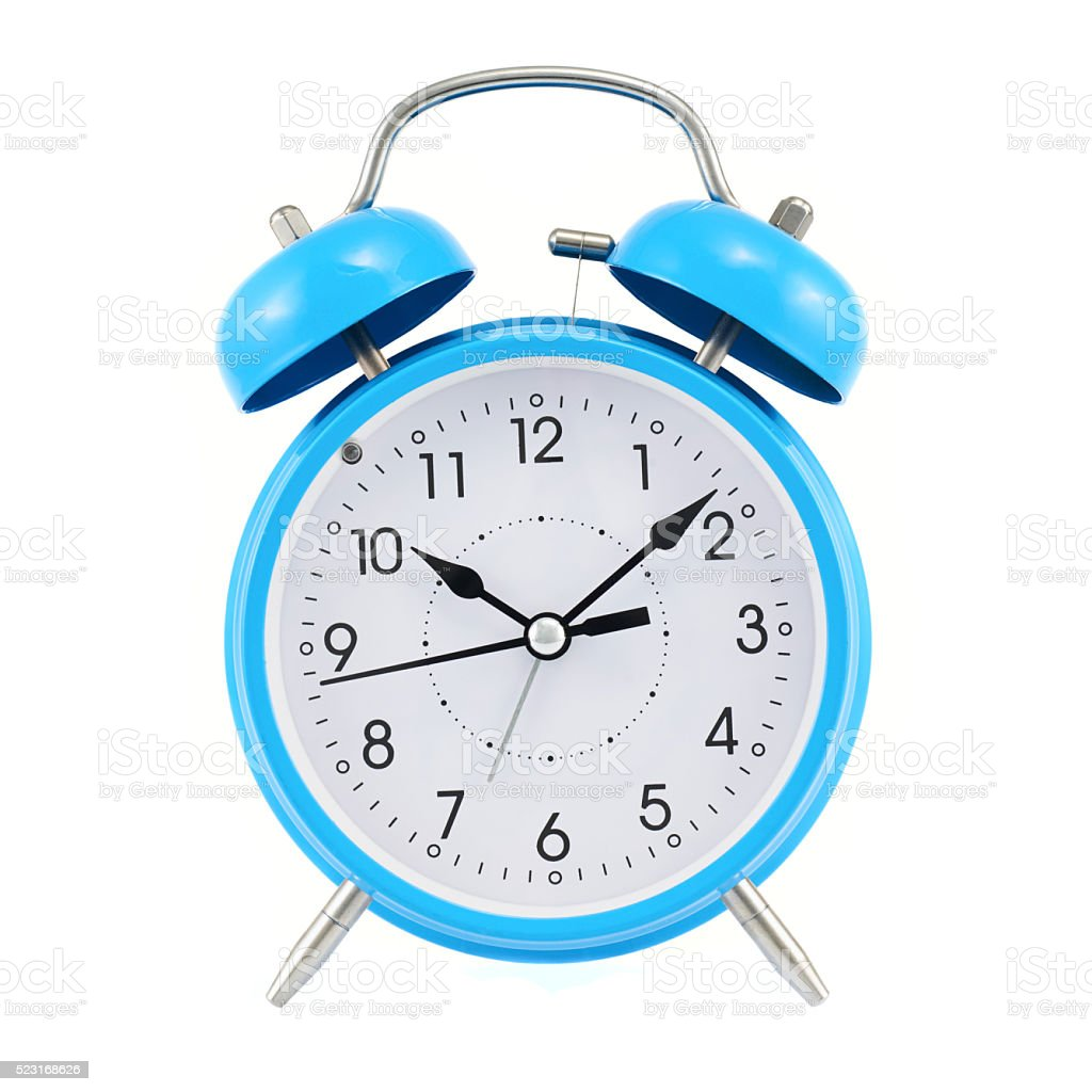 Blue alarm clock isolated stock photo