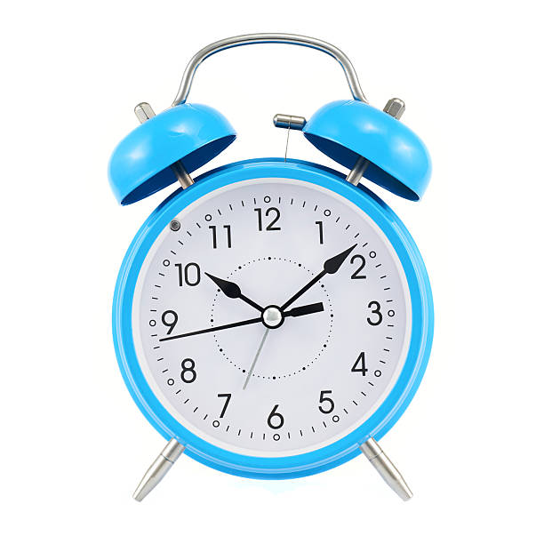 Blue alarm clock isolated Blue alarm clock isolated over the white background, front view clock hand stock pictures, royalty-free photos & images