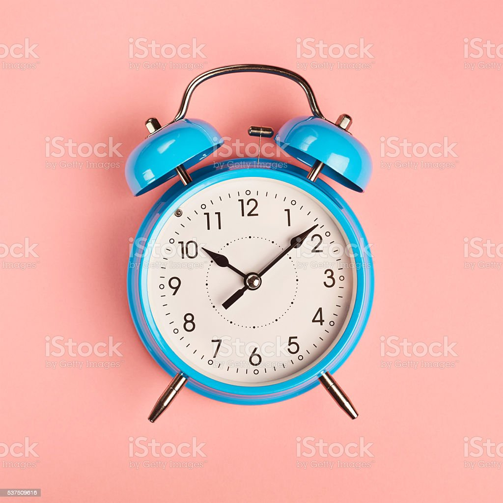 Blue alarm clock stock photo