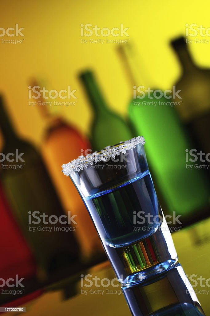 Blue alcohol shot drink royalty-free stock photo
