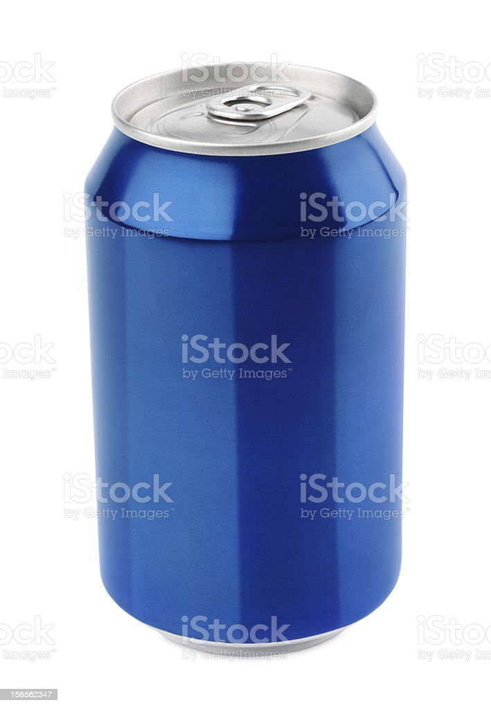 Blue aluminum can on white royalty-free stock photo