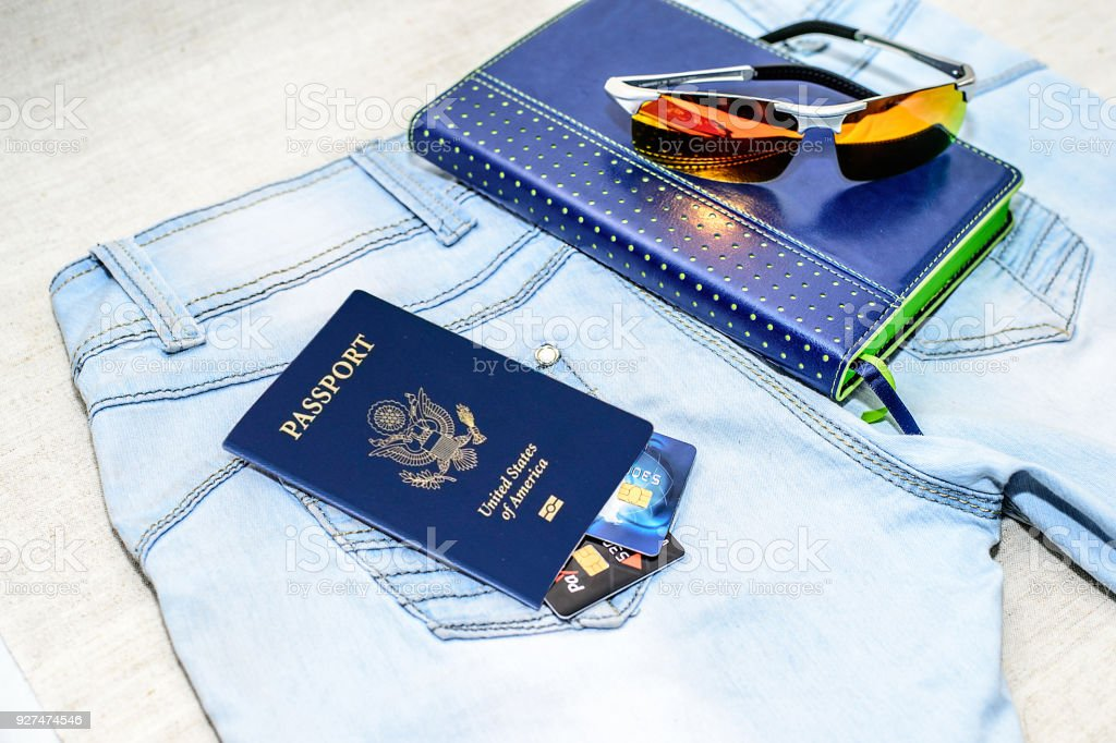 Blue American Passport, money - the concept of buying a property. stock photo