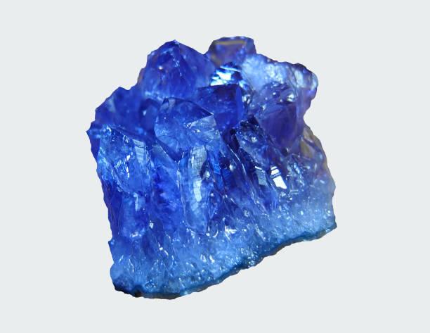 Blue amethyst stone. stock photo