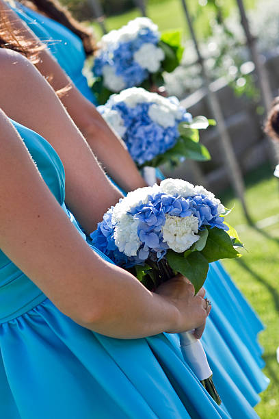 Blue & White Bridesmaids stock photo