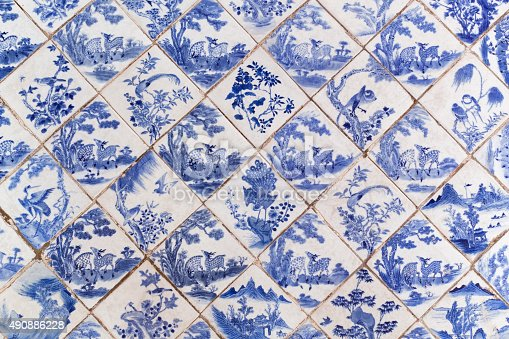 Blue ancient Chinese style floor tiles with animals pattern.