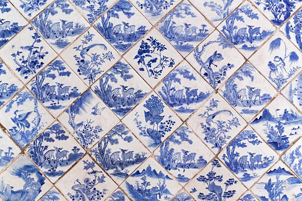 blue antiga piso de estilo chinês - porcelana - fotografias e filmes do acervo