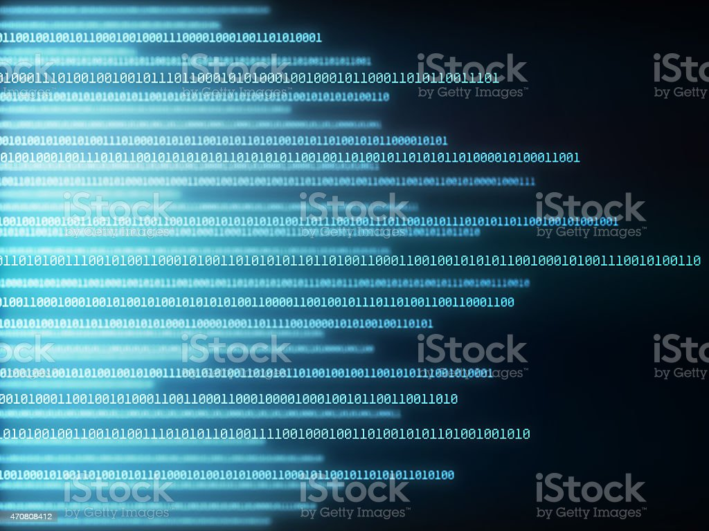 Blue and black background with matrix style, binary code stock photo