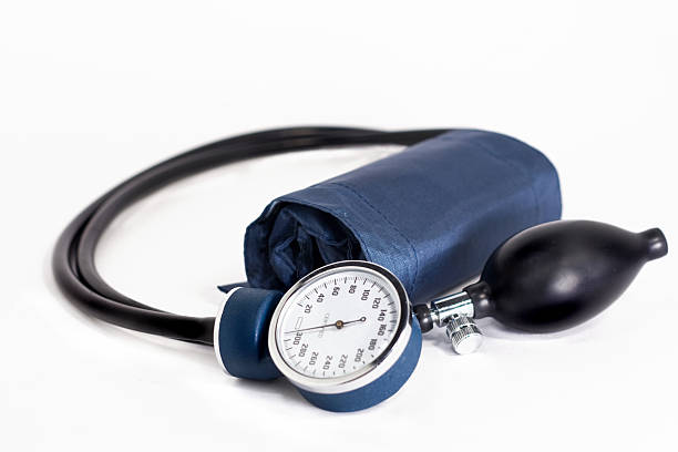 Blue and Black Blood Pressure Medical Cuff isolated on white stock photo