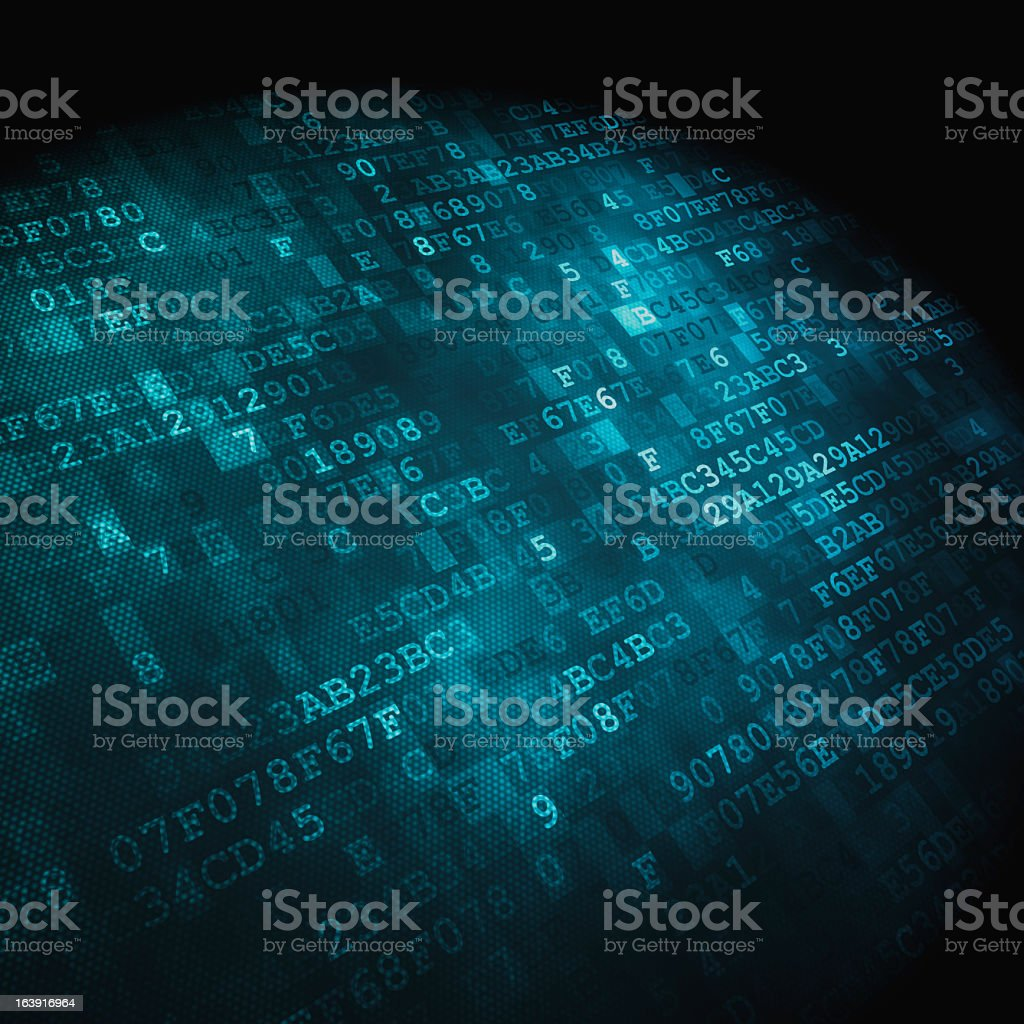 A blue and black hex code digital background - Royalty-free Abstract Stock Photo
