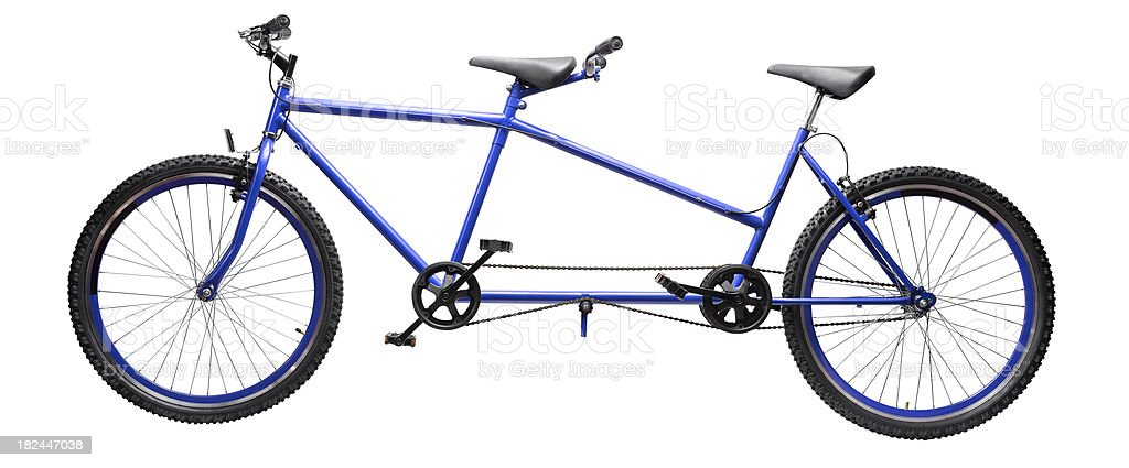 A blue and black tandem bicycle stock photo