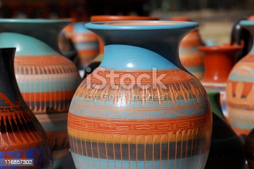 Native American pottery lined up for sale at an outdoor market in Sante Fe, New Mexico.