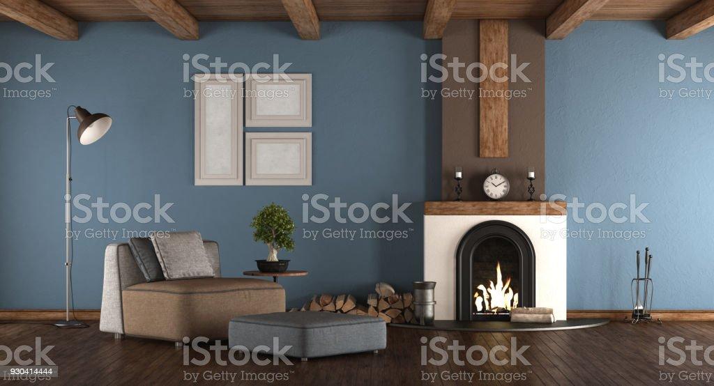Photo Libre De Droit De Chambre Bleu Et Marron Avec Cheminee Banque D Images Et Plus D Images Libres De Droit De