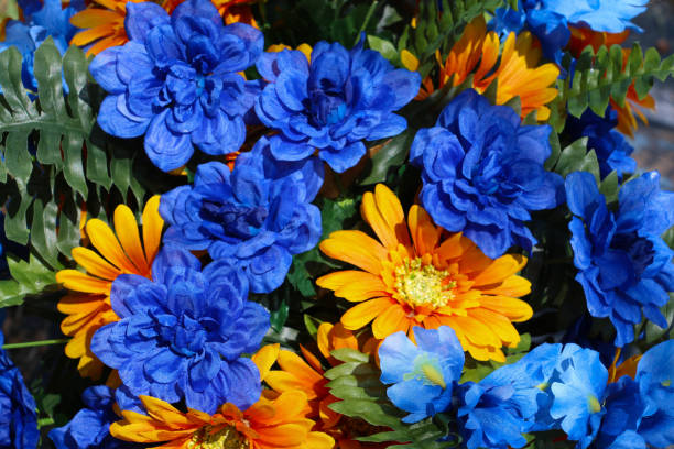 Blue and Gold Bouquet stock photo